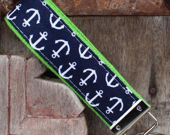 READY TO SHIP-Beautiful Key Fob/Keychain/Wristlet-White Anchors on Lime-1