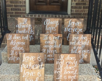 Wedding Aisle Signs Love Is Patient Love Is Kind Wood Signs Spring Wedding Aisle Decoration Love Is Patient Wedding Aisle Signs Set of 8