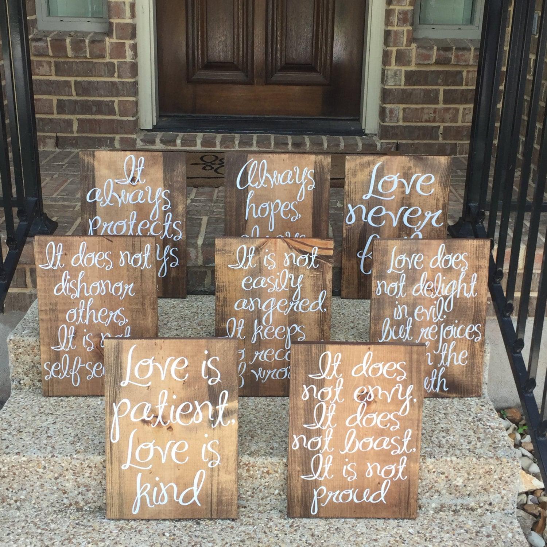 Wedding Reading Love Is Patient: Wedding Aisle Signs Love Is Patient Love Is Kind Wood Signs