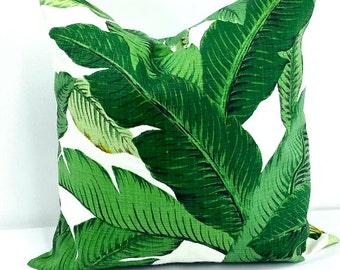 Swaying  palm. All Sizes Green Pillow Cover. Indoor.outdoor. Green and  white pillow cover.Designer pillow.cushion cover