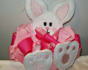 Bunny Ribbon Bow Barrette - Pink and White