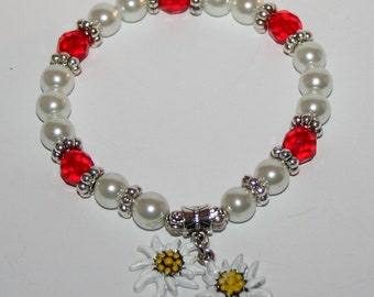 Edelweiss-pearl bracelet white and red
