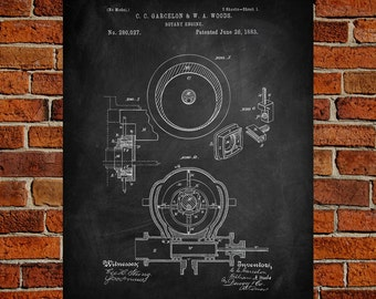 1883 Rotary engine Art Print,  Patent, Rotary engine Vintage Art,  Blueprint,  Poster, PatentPrints, Wall Art, Decor [Vi8A]