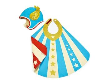 Superhero Costume, Blue Super Hero Cape and Hat, Thor Costume, Captain America, Birthday Gift for Kid, Gender Neutral Gift