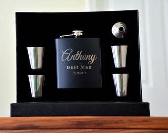 5, Groomsmen Gifts, Flask Gift Set, Personalized Flask, Engraved Flask, Father of the Bride, Father of the Groom, Wedding Party Men, Groom