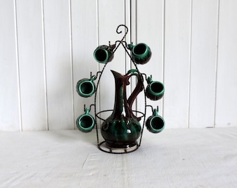 Vallauris ceramic decanter, pitcher, and 6 cup set in teal green and brown. Vintage french drink ware