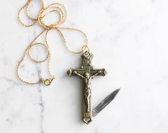 Crucifix Cross Pocket Knife Necklace | Brass Religious Symbol