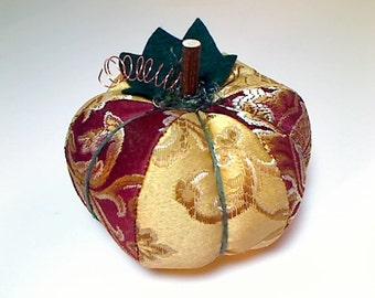 Size 4 | Berry/Gold Fabric Pumpkin | Holidays | Halloween Decor | Fall Decor | Thanksgiving Decor |Table Decor | Handmade Gift |#1