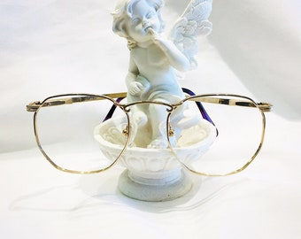 Vintage 1980's Gold Plated Alfred Sung Filligree Eyeglasses