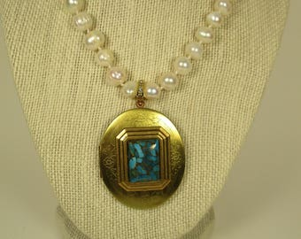 Turquoise and Pearl Locket