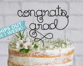 Wire Congrats Grad Cake Topper / Graduation Cake Topper / Graduation Party Decor / Congrats Grad / Graduation Party / Grad Party
