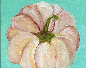 Rustic art, Pumpkin mini canvas art original small painting, little painting of pumpkin - pumpkin Farmhouse style