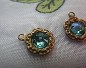 Light Turquoise Swarovski Crystal Tiny Daisy Brass Ox Drops 6 Pcs