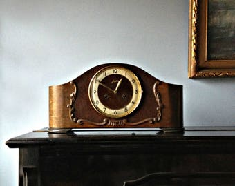 Striking Mantel Clock JUNGHANS pendulum clock German Clock Art Deco Clock Wooden Clock Retro Clock Vintage Clock Fireplace Clock