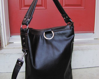 Brown Leather bag, Fold Over Bag, Messenger and Cross body bag, Shoulder tote purse