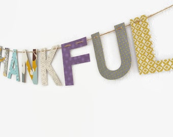 Fabric Banner ~ Party Decor ~ Happy Birthday Banner ~ THANKFUL Collection