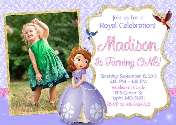 Sofia the first invitation birthday sofia the first party stopboris Image collections