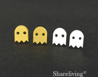 4pcs (2 Pairs) Silver, Golden Pacman Stud Earring, Nickel Free, High Quality Brass Earring Post - ED447