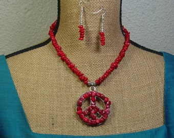 Natural Untreated AAA Red Coral Peace Sign, 925 Silver Necklace and Earrings