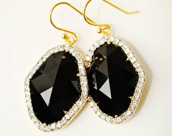 Black Earrings Rhombus Earrings with Diamonds Crystal Drop Earrings Wedding Earrings Formal Earrings Black Crystal Cocktail Jewelry Fashion