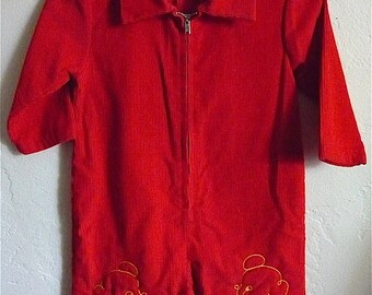 Vintage Unisex Baby 80's Jumper, Corduroy, Red, Long Sleeve, Novelty by Sears (9-12 mos)