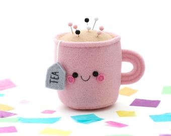 Light Pink Teacup Pincushion, 3D Tea Accessory, Felt Pincushion, hannahdoodle, Happy Room Decor, Tea Gift
