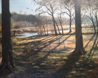 Acrylic on Canvas, long shadows and a creek.  Mustang Creek.