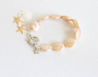 Pearl Bridesmaid Bracelet, Pink, Bridesmaid Bracelet, Sterling Silver, Natural Blush Coin Pearl Bracelet, Signature Collection
