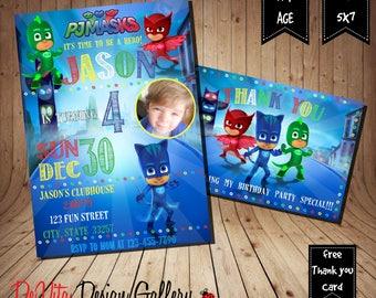 Pj Masks Invitation / Pj Masks Birthday Invitation / PJ Invitation / PJ Birthday Invitation / Birthday Invitation / Free thank you card / PJ