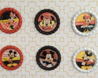 Mickey And Minnie Inspired Bottle Caps Necklace/ Keychain/ Zipper Pulls