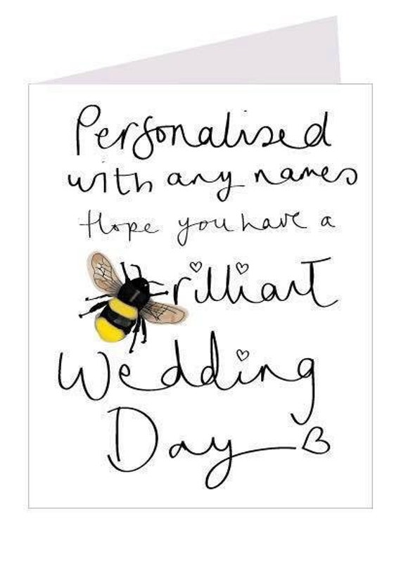Personalised,  hope you have a brilliant wedding day greeting card