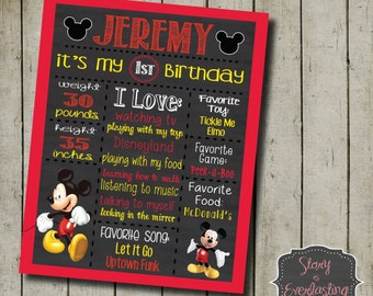 Printable Birthday Facts ~ Mickey mouse birthday board birthday facts fact board