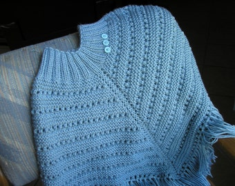 Knitted Poncho, Girls Large - Lt. Country Blue