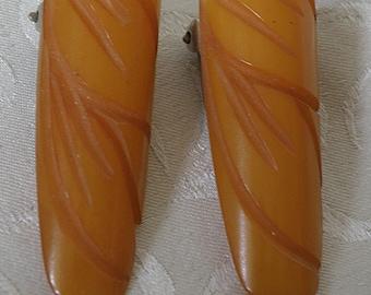 Butterscotch Bakelite Pair Dress Clips