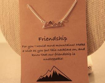 Mountain Necklace: Mountain Range Silhouette Necklace, Friendship Necklace, Friendship Jewelry, Best Friends, Best Friends Necklace