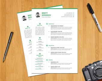 Resume Template / CV Template + Cover letter (2 color themes) - Instant download