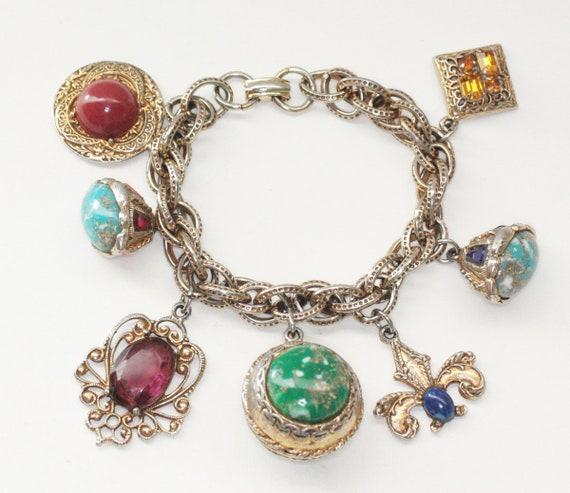 Chunky Fob Charm Bracelet 7 Charms Faux Gemstones Rhinestones Etruscan Style Vintage Bracelet