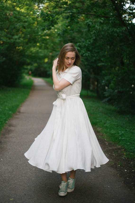 Casual Wedding Dress White Dress Rustic Wedding Dress Linen - Wedding Dress Shirt