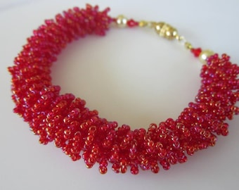 PDF beaded fur bracelet tutorial - seed bead Swarovski crystal pattern - браслет бисер