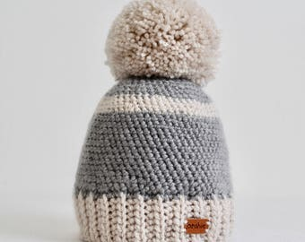 Free shipping. Pom pom beanie for 3-4 years old boys, Winter hat for toddler, Crochet hat, Knit hat, son present