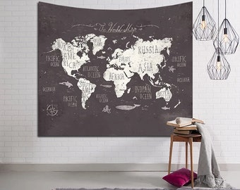 World map tapestry etsy world map tapestry world map wall gumiabroncs Gallery