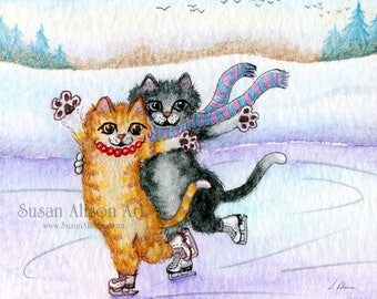 Ice skating duo cats 8x10 print figure skating attitude position ginger tabby tuxedo cat double act from Susan Alison watercolour painting