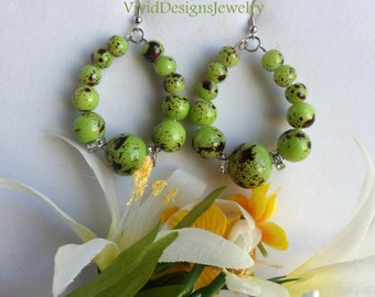 Lime Green Teardrop Statement Earrings - Lime Green - Lime Green Beaded Statement Earrings