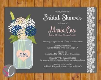 Glass Jar Flowers Bridal Shower Invite Floral Lace Spring Summer Navy Blush Invitation DIY Printable 5x7 Digital JPG File (214)