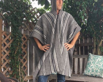 Mens organic sheep wool hooded poncho
