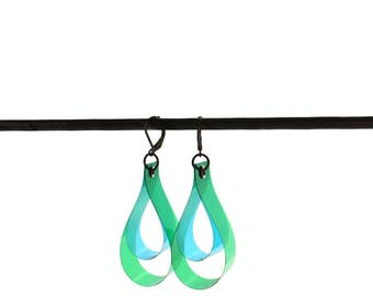 SALE 25% OFF! DROP earrings, color earring, green & blue, geometric jewelry, minimal jewelry, Gift For Her, Boho Jewelry, Girlfriend Gift