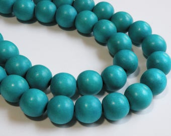 Turquoise Blue wood beads round 20mm full strand eco-friendly Cheesewood 1298NB