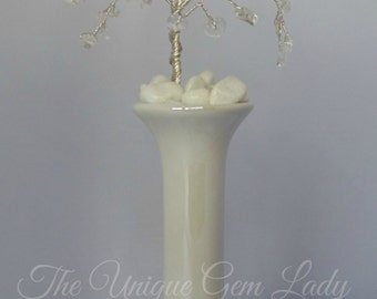 Clear Quartz Rock Crystal Wire Wrapped Tree Sculpture In Bud Vase ~ Gemstone Crystal Healing ~ Hand Crafted With Love Ooak