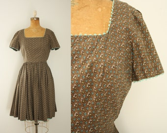 1950s dress | vintage 50s brown cotton day dress