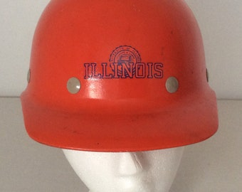 University Of Illinois Vintage Superglas Fibre Metal Orange Hard Hat